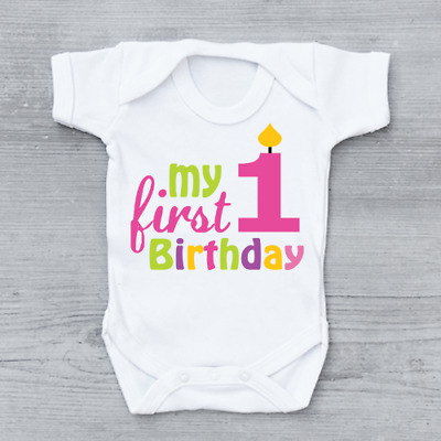 My 1st First Birthday Girls Candle Cute Baby Grow Bodysuit
