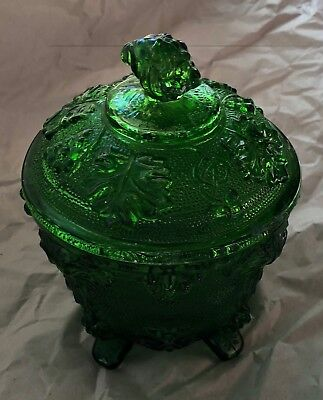 Emerald 7Up Green Grape Pattern Jar And Lid Yellow Green Vintage Jeanette