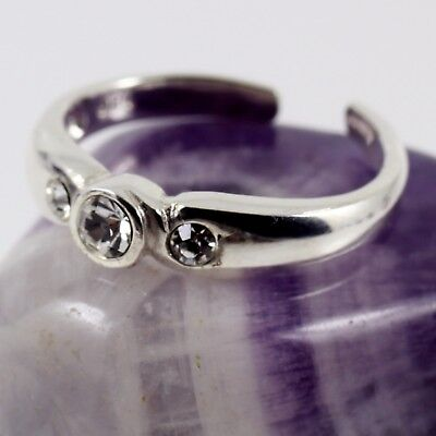 Ladies Toe Ring Band Solid 925 Sterling Silver 3 x Clear CZ Crystal Freesize New