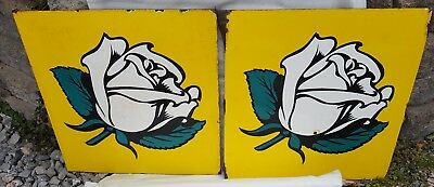 Very nice pair of double side White Rose Oil Company porcelain metal sign flange