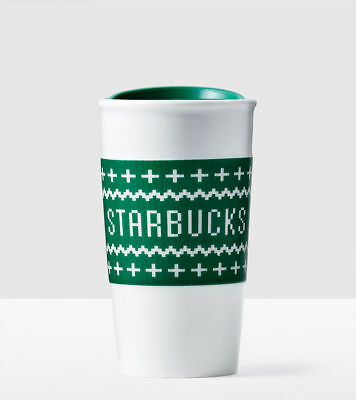 Starbucks UGLY SWEATER SLEEVE Green Ceramic Traveler Mug NEW 2016 10oz Gift Card