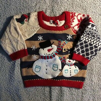 Next BNWT Patchwork Knitted Xmas Jumper 3-6 Months With Snowman Detail