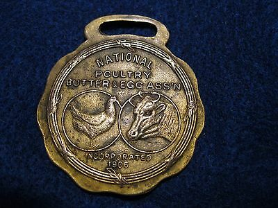 Old early 1900s National Poultry Butter & Egg Assn watch fob chicken cow front