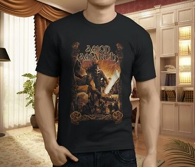 new AMON AMARTH Death Metal Band Mens Black Tshirt rare Logo Rock Tee S to 4XLT