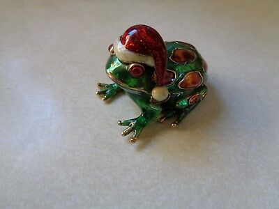 Monet Frog Trinket Box Wearing A Santa Hat