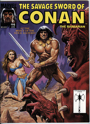 The Savage Sword of Conan Issue 198 From 1992 B&W Magazine Size Direct Market Ed