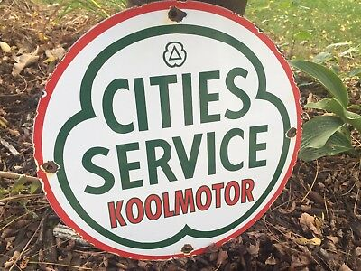 Cities Service Koolmotor Gas Pump Plate Sign Vintage Oil Lube Can Lubester Dino