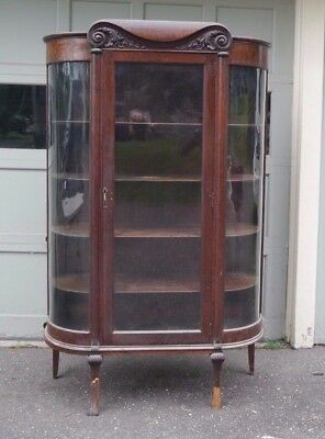 Antique Large Oak China Cabinet Curved Glass Sides