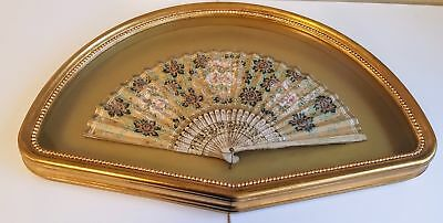 Hand Painted Antique Hand Fan in Lovely Gilt Shadow Box Frame Very Nice!