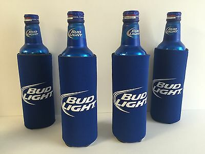 Bud Light Beer Koozie Fits 16 oz Aluminum Can Classic Logo Four (4) - NEW & F/S