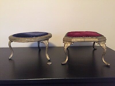 Two Antique Victorian Primitive Cast Iron Lady Wood Chair Foot Stool Footstool