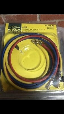 "Refco Set Of Charging Hoses 1/4"" SAE With Ball Valve 72"""