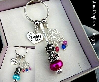 Beautiful DAUGHTER IN LAW Heart Dream Catcher Keyring Key Ring You Choose Colour