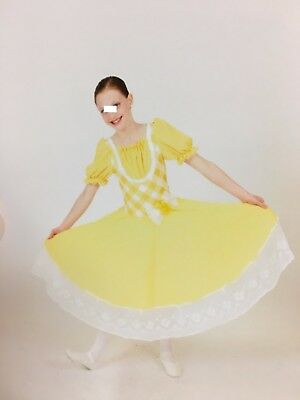"""Pale yellow and white """"Hoedown"""" Country Dance  Costume Cicci Child Large"""