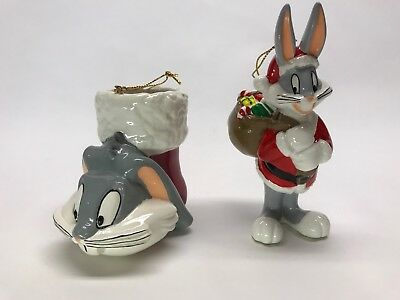 Vintage lot of 2 Ceramic Bugs Bunny Ornaments Warner Brothers Looney Tunes 1994