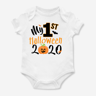 My First 1st Halloween 2018 Orange Pumpkin Baby Grow Bodysuit Vest New Arrival