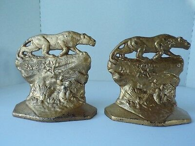 Vintage Pair of Art Deco 1930 COPR Crouching Tiger Lioness Cast Iron Bookends