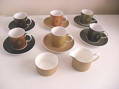 Susie Cooper Carnaby Daisy Coffee Set - 6 Cups & Saucers, Sugar Creamer Not Used