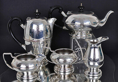 Vintage 5 Piece Silver Plated EP on Copper English Tea Service