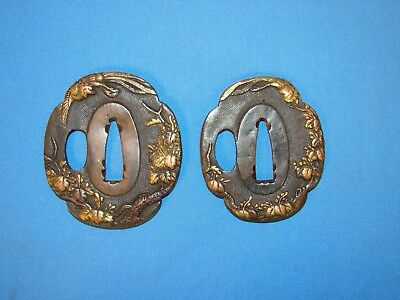 Old Japanese Samurai Sword TSUBA Pair, DAISHO for Wak & Tanto (#20)