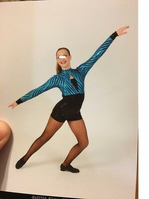 Blue and black striped  sequined Dance Costume Cicci Adult Medium