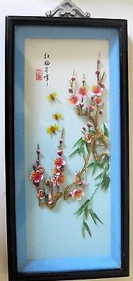 Vintage Chinese 3D Framed Shell Cutting Art  from Swatow