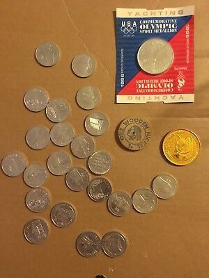 Mixed Lot Vintage Collectible Tokens, Wood Nickel, Sunoco Landmarks Of America