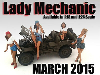 LADY MECHANIC -Complete Set of 4 - 1/18 scale figure/figurine - AMERICAN DIORAMA