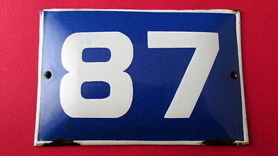 Old Vintage Door House Blue Porcelain Enamel Number 87 Tin Sign Plate