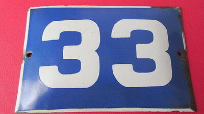 Old Vintage Door House Blue Porcelain Enamel Number 33 Tin Sign Plate