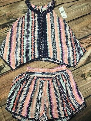 Ella Moss Girls 2 Pc Outfit Boho Lace Multicolor Tank Top Shorts 12 14