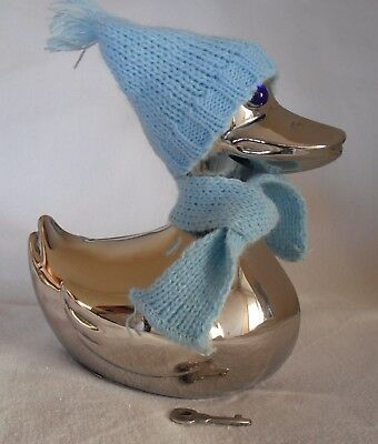 Duck with Hat and Scarf Vintage Money Box, Silver Plated