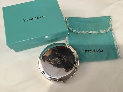 Authentic & Siged Tiffany & Company Sterling Round Compact Original Box N.r