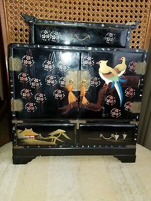 Asian (Japan) Vintage Musical Black Lacquer Hand-Painted Jewelry Box