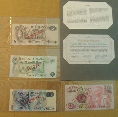 Ghana Complete 4 Specimen Set 1976 0004521 Cs1 P 13 -16 Gem Unc Low Serial