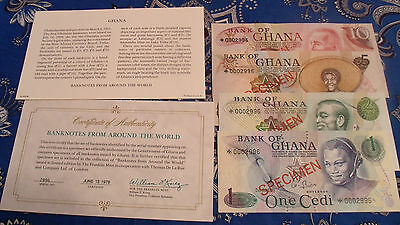 Ghana Complete 4 Specimen Set 1976 0002996 Cs1 P 13 -16 Gem Unc Low Serial