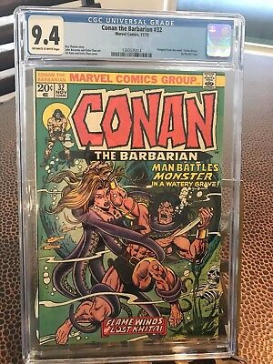 Conan the Barbarian #32 CGC 9.4 OW/W pages *Cracked Case*