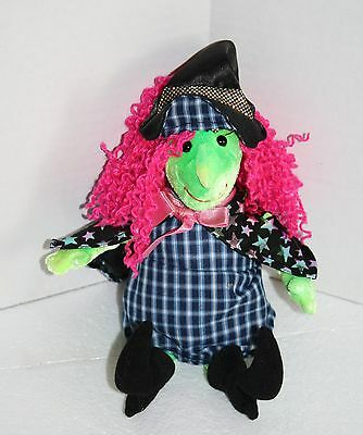 "TY Beanie Baby SCARY WITCH 11"" Plush Halloween Star Cape Pink Hair Green Face"