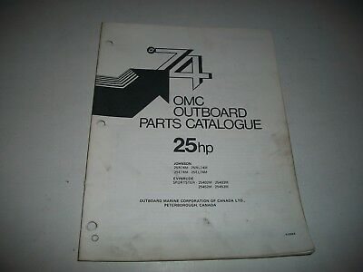 1974 Evinrude & Johnson 25 Hp Outboard Engine Illustrated  Parts Catalog