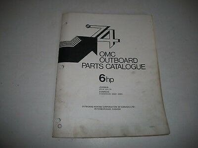 1974 Evinrude & Johnson 6 Hp Outboard Engine Illustrated  Parts Catalog