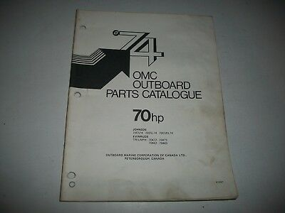 1974 Evinrude & Johnson 70 Hp Outboard Engine Illustrated  Parts Catalog