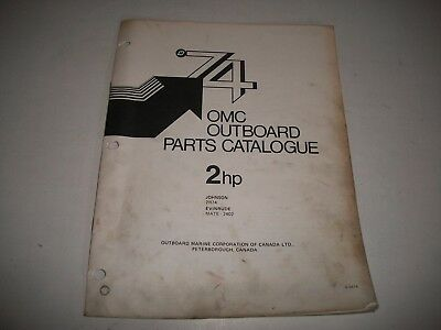 1974 Evinrude & Johnson 2 Hp Outboard Engine Illustrated  Parts Catalog