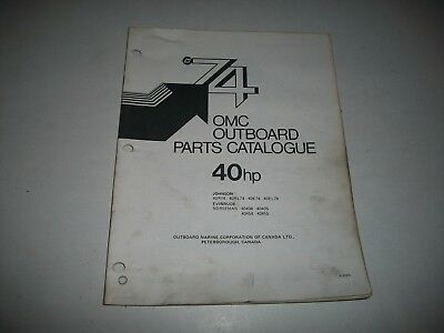 1974 Evinrude & Johnson 40 Hp Outboard Engine Illustrated  Parts Catalog