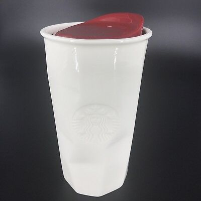 Starbucks White Ceramic Faceted Travel Tumbler Mug With Red Lid