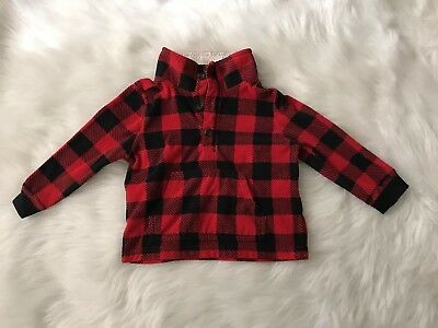 Carter's Size 2T Red Black Buffalo Plaid Pullover Fleece