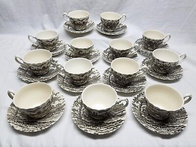 Royal Mail Myott Staffordshire 29 Piece Cups & Saucers Porcelain Coaching Scene