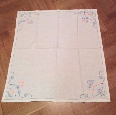 Lovely white linen vintage hand embroidered tablecloth