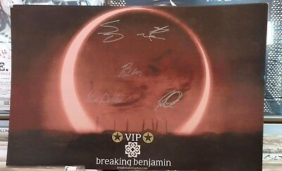 AUTHENTIC Signed x5 BREAKING BENJAMIN 2016 Tour VIP Exclusive 11x17 Print