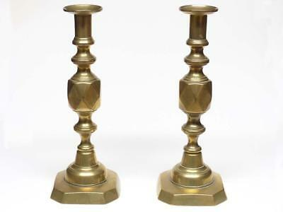 Pair of Antique Victorian King of Diamonds Brass Candlesticks