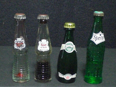 4 Vintage Glass Miniature Bottles Canada Dr, Perrier,  Canada Dry Spur & Orange